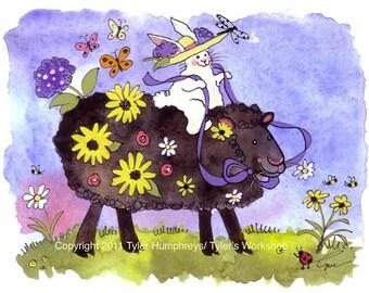 Watercolor Animals Greeting Card - Black Sheep Bunny Rabbit Card - Flowers Garden Illustration Watercolor Print