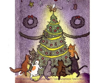 Funny Cats Christmas Greeting Card with Cats Dancing Around Christmas Tree Mice Ornaments, Holiday Cat Card, Cats Watercolor Painting Print