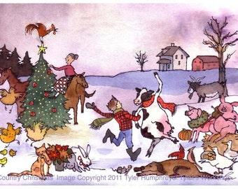 Christmas Card - Farm Animals Christmas Greeting Card - Funny Animals Pets Watercolor Christmas Card