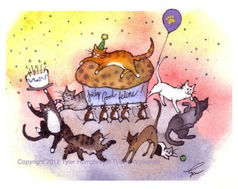 Cat Birthday Card Funny Cat Greeting Card- Birthday Party Card- Cats Watercolor Painting Cartoon Illustration Print 'Purrrfect Party'