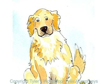 Dog Art, Golden Retriever Greeting Card, Dog Card, Funny Dog Watercolor Painting Print 'Good Boy'