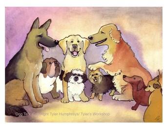 Dog Card - Funny Dog Art - Dog Breeds - Watercolor Dogs Golden Retriever German Shepherd Chihuahua Bulldog Labrador 'Dog Talk'