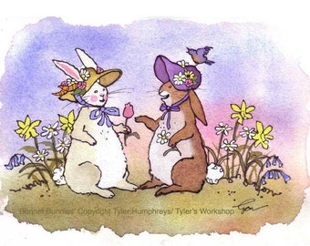 Easter Card - Funny Bunny Rabbit Card - Rabbit Art - Spring Watercolor Animals Bunny Illustration Cartoon  'Bonnet Bunnies'