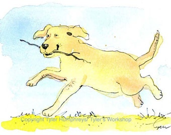 Dog Art, Dog Greeting Card, Labrador Retriever Running Dog Watercolor Painting Print 'Fetch'