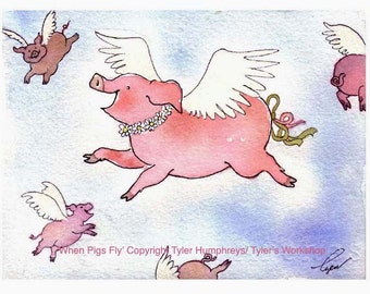 When Pigs Fly Pig Print 8.5 x 11, Funny Pig Art, Watercolor Painting Pigs, Pig Art, Pig Wall Art, Flying Pink Pig Illustration, Pig Poster