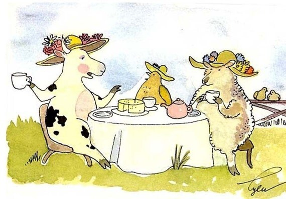 Cow, Chicken and Sheep Funny Watercolor Greeting Card Print/ Ladies Who Lunch