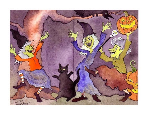 Funny Halloween Card - Witches Halloween Greeting Card - 'Ladies Night'