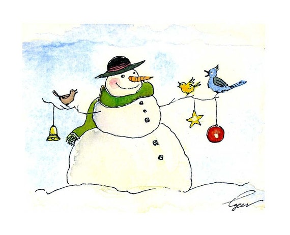 Snowman christmas greeting card snowman art winter snowman Christmas card scenes to paint