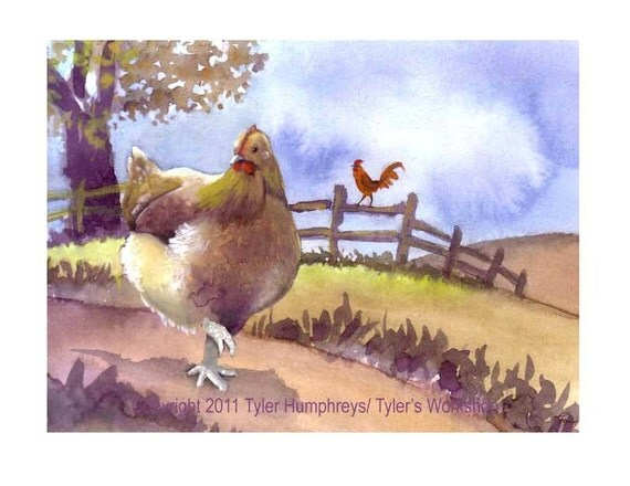 Funny Chicken Card, Chicken Greeting Card, Chicken Illustration, Funny Hen and Rooster Print 'A Tale Of Two Chickens'