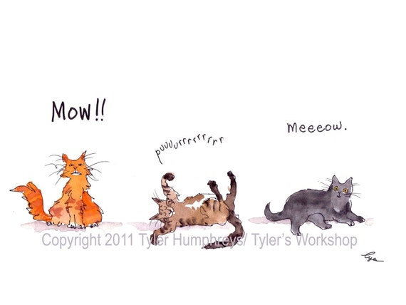 Cat Art- Cats Greeting Card- Funny Watercolor Cats Painting- Funny Cat Card Print 'Mow Purrrr Meow'