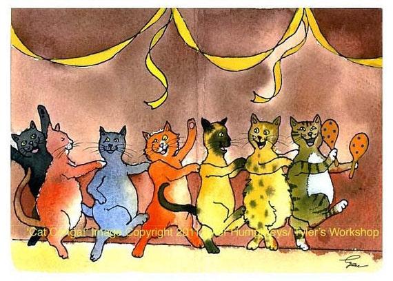 Cats - Funny Cat Greeting Card - Cat Art - Cat Watercolor Painting Print 'Kitty Conga'