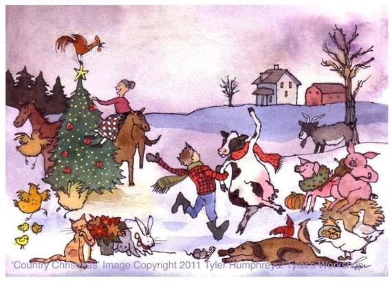 Christmas Card Farm Animals Christmas Greeting Card Funny