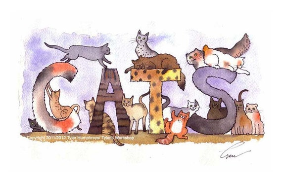 Cats - Cat Art - Cats illustration - Funny Cats Print