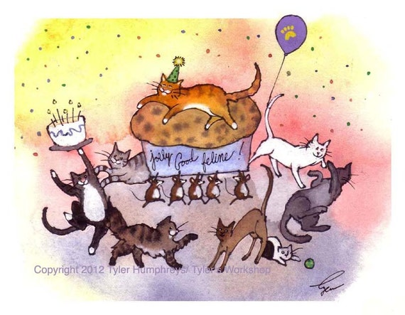 Cat Birthday Card Funny Cat Greeting Card Birthday Party – Cat Birthday Greetings