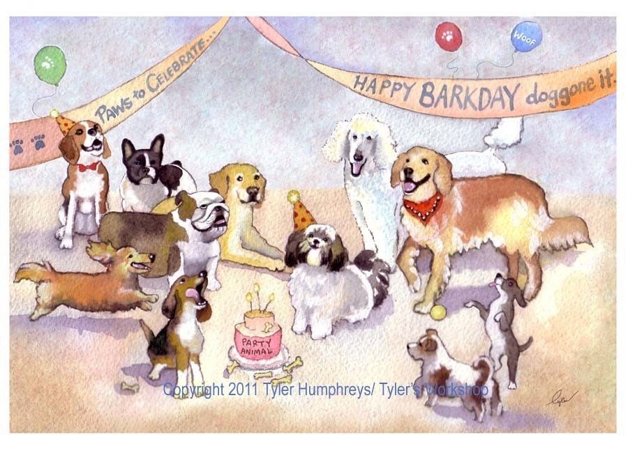 Funny Dog Greeting Card Birthday Card Dog by tylersworkshop