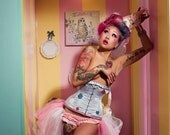 Polka dot glitter under bust steel boned circus corset
