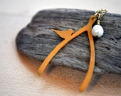 The Wishing Bird - a Matte Gold Wishbone and Tiny Bird Necklace