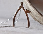 The Wishing Bird - a Stainless Steel Wishbone and Tiny Bird Necklace