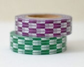 ON SALE - Discontinued-Japanese Washing Tapes/ Green & Purple Traditional Japanese Pattern (arrows) for packaging, card making