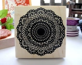 Japanese Big Doily Lace Pattern Wooden Rubber Stamp (Black)