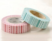 Discontinued-Japanese Washi Masking Tapes / Red and Teal Stitches (15m Long, 50% more) for packaging, card making, baby shower, party deco