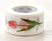 Discontinued-mt ex Japanese Washi Masking Tapes / 30mm wide Beautiful Flowers for card tag making, packaging