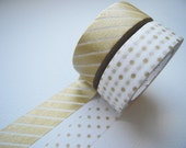 MT 2012 - Japanese Washi Masking Tapes / Small Gold Polka Dots & Stripes for packaging, party deco, card making