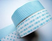 Discontinued-Japanese Washi Masking Tapes / Baby Blue Polka Dots & Stripes (15m Long, 50% more) for baby showers, announcements, party favor