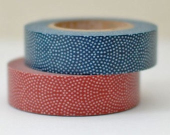1 DOLLAR SALE - Discontinued-Japanese Washi Tapes/ Red or Blue Traditional Japanese Pattern for journaling, packaging, techo planner washi