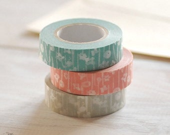 Classiky Japanese Washi Masking Tapes - Small Flowers for invitation deco, party favor, wrapping gifts