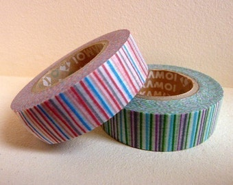 Discontinued-Japanese Washi Masking TapeSINGLE / Red or Green Colorful Stripes (15m Long, 50% more) for Packaging, Scrapbooking, party deco
