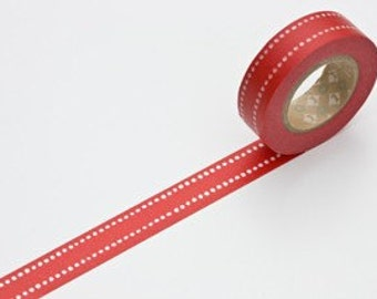 Discontinued-Japanese Washi Masking Tape / Red Dot Dash for Holidays, Birthdays and Weddings (15m Long, 50 percent more)