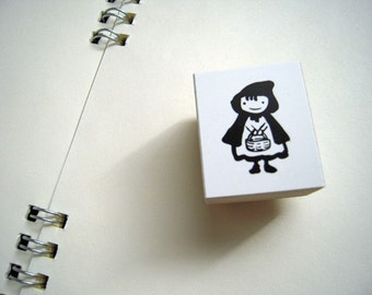 Cute Japanese Wooden Rubber Stamp-Little Red Riding Hood