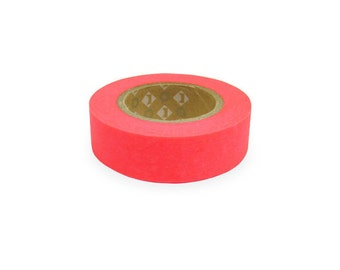 Fluorescent color Japanese Washi Masking Tapes / Hot Red (15m Long, 50 percent more)