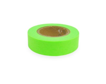 Fluorescent color Japanese Washi Masking Tapes / Hot Green (15m Long, 50 percent more)