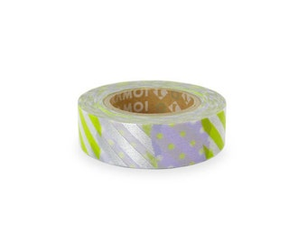 Discontinued-Japanese Washi Masking Tape / Patch Pattern D (15m Long, 50 percent more) for invitation, party favor, packaging, baby shower