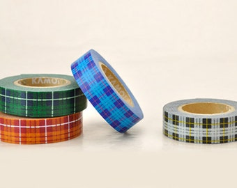 Discontinued---Tartan Plaid Pattern Japanese Masking Tape SINGLE- for packaging, invitation, wedding, shower, party deco