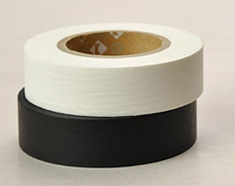 Solid Color Japanese Washi Masking Tapes / Matt Black or Matt White at your choice (15m long, 50%more)