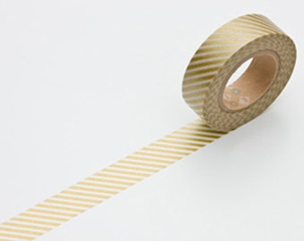 Discontinued-Japanese Washi Masking Tapes / Gold Stripe (15m Long, 50 percent more) for weddings, holidays, parties