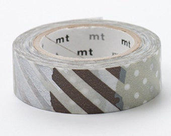 1 DOLLAR SALE - MT 2012 Japanese Washi Masking Tape / Brown/Silver Patch Patterns G for scrapbooking, packaging, party deco, card making