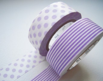 ON SALE - MT 2012 Japanese Washi Masking Tapes / Purple Polka Dots & Stripes for packaging, party deco, card making