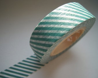 Discontinued-Japanese Washi Masking Tape / Dark Jade Green Diagonal Stripes for Weddings, Birthdays and Showers (15m Long, 50 percent more)