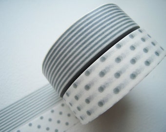 ON SALE - Discontinued-Japanese Washi Masking Tapes / Gray Polka Dots and Stripes (15m Long, 50 percent more)