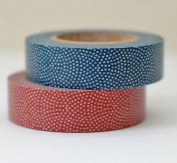 2 DOLLAR SALE - Discontinued-Japanese Washi Tapes/ Red and Blue Traditional Japanese Pattern