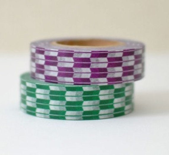 1 DOLLAR SALE- Discontinued-Japanese Washing Tapes/ Green & Purple Traditional Japanese Pattern (arrows) for packaging, card making