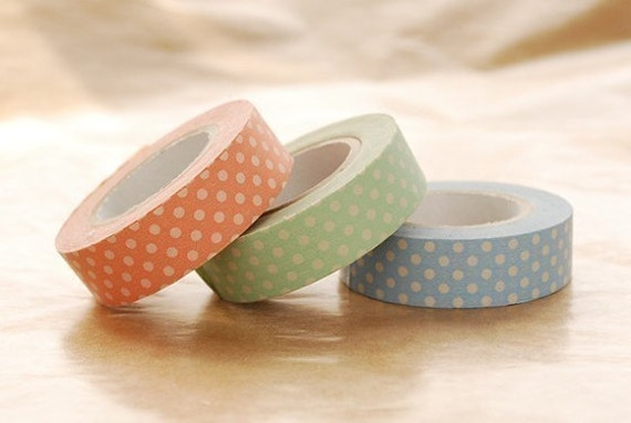 Japanese Washi Masking Tapes Set of 3 - Bright Polka Dots for baby announcement, shower, gift wrapping, scrapbooking