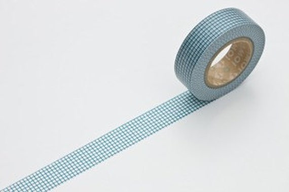 Discontinued-Japanese Washi Masking Tape / Blue Checker Grid (15m Long, 50 percent more)