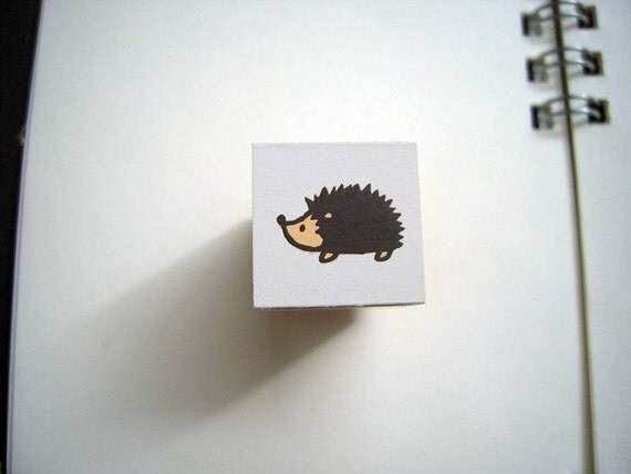 Cute Mini Japanese Wooden Rubber Stamp-Hedgehog