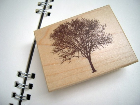 Beautiful Japanese Tree 2 (wide) Wooden Rubber Stamp