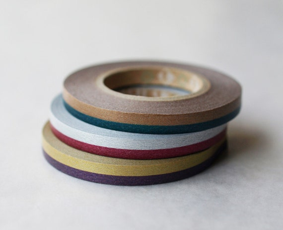 Discontined-Japanese Washi Masking Tapes / 6mm Slim 2 Tone set C for Wedding, Gift Wrapping (15m Long, 50 percent more)